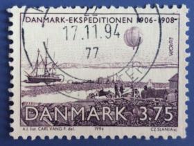 【丹麦邮票】1994年《欧罗巴 - 探险家和极地气象站》1信销(斯拉尼亚雕刻)