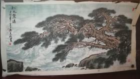 山东画院高级画师孙先成先生手绘山水松风鹜涛作品(已裱片)尺寸140公分×73公分