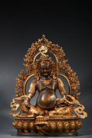 铜鎏金黄财神造像