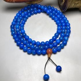 乡下偶遇老者珍藏蓝玛瑙如意纹佛珠项链K