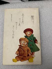 579:日本实寄明信片 可爱的木偶娃娃 一张
