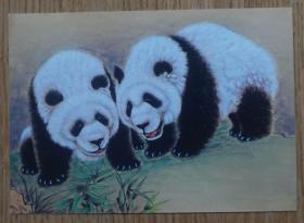马来西亚2015年中马建交40周年两只可爱的大熊猫邮资片(新片)