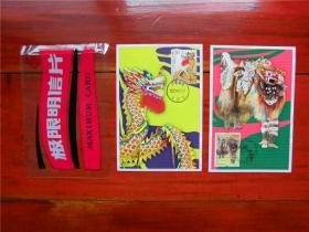 MC-79 舞龙舞狮 中印联合发行邮票极限片  集邮总公司