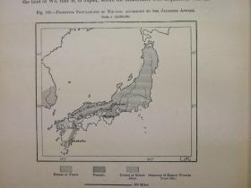 1895年地图一张《日本的原始人口PRIMITIVE POPULATIONS OF NIP - PON》纸张尺寸26.5*18厘米,背面有字