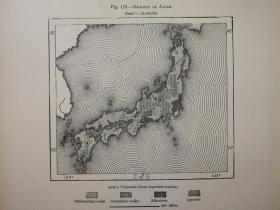 1895年地图一张《日本地质GEOLOGY OF JAPAN .》纸张尺寸26.5*18厘米,背面有字