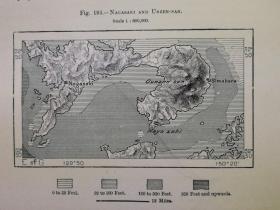 1895年地图一张《日本.长崎和岛原半岛的云仙火山NAGASAKI AND UNZEN -SAN》纸张尺寸26.5*18厘米,背面有字