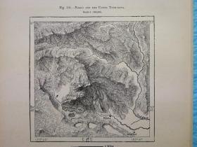 1895年地图一张《日本.日光和利根川nikko and the upper tone-gava》纸张尺寸26.5*18厘米,背面有字