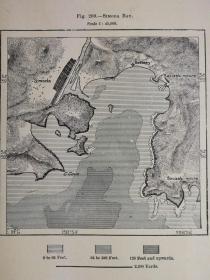 1895年地图一张《日本.西莫达湾SIModa Bay. 》纸张尺寸26.5*18厘米,背面有字
