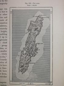 1895年地图一张《日本岛屿T'SU - SIMA.》纸张尺寸26.5*18厘米,背面有字