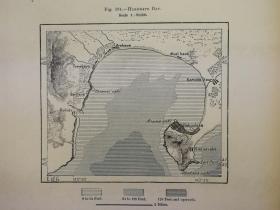 1895年地图一张,正反2幅《日本.函馆湾HAKODATE Bay;北海道函馆市》纸张尺寸26.5*18厘米