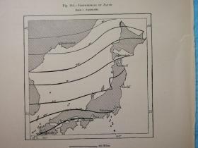 1895年地图一张《日本的等温线ISOTHERMALS OF JAPAN.》纸张尺寸26.5*18厘米,背面有字