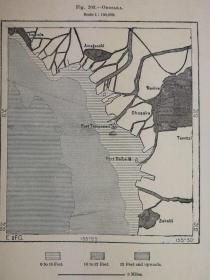 1895年地图一张《日本.大坂市OHOsaka.》纸张尺寸26.5*18厘米,背面有字