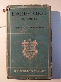 English Verse: Volume III, Dryden to Wordsworth(The World's Classics)