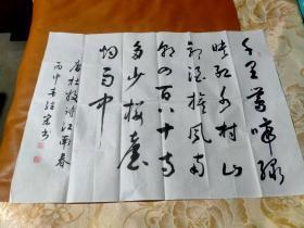 【2359】《中国社会艺术协会榜书委员会会员.中国硬笔书法协会会员.甘肃省书法家协会会员 贾继宗 书写书法宣纸横幅》钤印