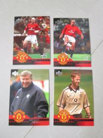 体育明星卡足球球星卡收藏 4张合售(编号95)