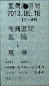 台湾票据、票证、车票、台湾火车票一张:基隆——万华