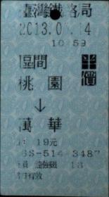 台湾票据、票证、车票、台湾火车票一张:桃园——万华