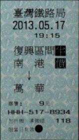 台湾票据、票证、车票、台湾火车票一张:南港——万华,半价票