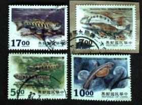 邮政用品、邮票、信销邮票,专349特349樱花钩吻鲑一套4全,