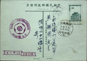 邮政用品、明信片、莒光楼邮资片一枚,亚洲国会议员联合会第五届大会,实寄,第二天到,销第十九临时邮局戳