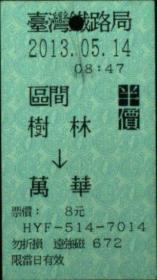 台湾票据、票证、车票、台湾火车票一张:树林——万华,半价