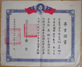 台湾证件、证明、台湾学业证明书一件,高雄右昌国小毕业证一件,拍摄略偏白
