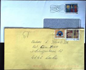 邮政用品、信封、瑞士实寄封2枚合售0726