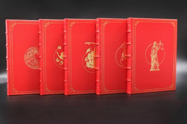 限量小羊皮 | 钟叔河签名藏书票 《知堂书话》(五卷本) 石榴红色竹节装定制版