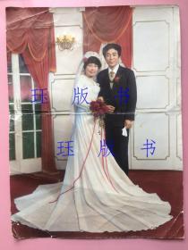 照片,罕见超大尺寸,手工上色好,美女夫妻结婚照,很漂亮,长约40cm,宽约30cm