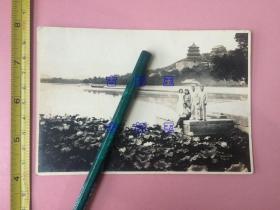 照片,民国,绝佳绝佳!知识分子合影,可能是名人 北京颐和园  男子西服,女子旗袍,立于湖边,近处莲叶田田,湖上有人泛舟,远处楼宇耸立。一张照片,充分显示了拍摄者的审美水平,人物景色浑然一体,具有很高的欣赏价值。 长约14cm,宽约9.5cm