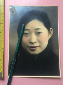 老照片,美女,彩色,非常精美,手工上色,长约19.5cm,宽约14cm