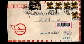 1995.11.邮政快件实寄封一件,贴50分邮票一枚、10分普票5枚 、内领货凭证一张