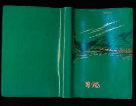 50开塑料精装笔记本:日记(后面大部分空白,前面部分笔记,是会议记录和邵阳市合成洗涤剂厂的工作安排等内容)