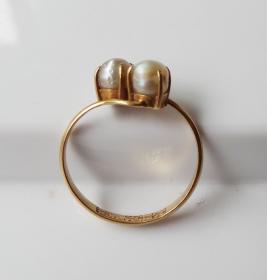 老戒指金戒指镶嵌珍珠