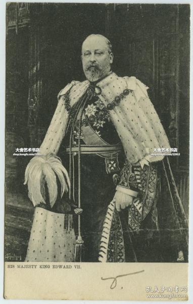 1903英国国王爱德华七世盛装肖像明信片,贴邮票销1903年邮戳。