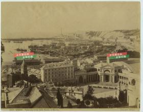 清代同期从海洋学校拍摄的意大利热那亚海岸港口城市全景蛋白老照片一张,尺寸为25.4X20厘米