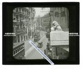 清代民国玻璃幻灯片----民国时期香港维多利亚商业区街景俯瞰,可见双侧公共汽车和大新公司等。