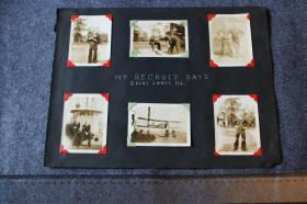 1926年一位美国水兵刚入伍的时候拍摄的记录老照片11张,有和舰船,水上飞机等合影,马里兰号军舰等。每张尺寸为8.8X6.3厘米左右,册页纸尺寸为32.8X25厘米