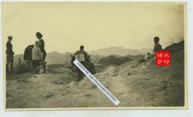 1929年北京西部门头沟通往潭柘寺的崎岖艰难道路老照片。14X8.2厘米,泛银