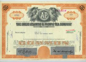 1970年大西洋与太平洋茶叶公司股票2220股,雕刻版
