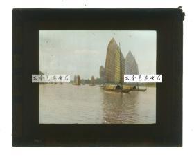 清代民国玻璃幻灯片-----民国长江扬子江优美的大型帆船航运