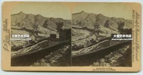 清末民国时期立体照片--清代晚期北京雪后壮美的万里长城雪景雄姿