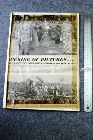 1948年8开大幅杂志剪页,大清国慈禧皇太后和太监像,是印刷刊物中的一页,被用民国胶带粘贴在了册页纸上。整件尺寸32.8X22.8厘米。背面有1948年5月29日剪报,以及共产党军队向北平西郊挺近的内容,有一副手绘铅笔画