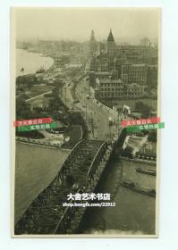 民国上海外白渡桥上百老汇大厦上,由北向南俯瞰外滩全景老照片,细节丰富,12.8X8.3厘米