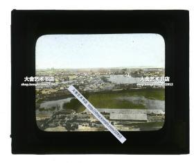 清末民国时期玻璃幻灯片-------民国湖北武汉;汉口与汉阳全景,堪称地图级别展示,汉江穿流其间