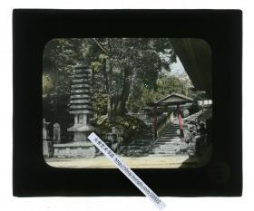 清代民国玻璃幻灯片-----民国日本京都清净神庙入口之处的台阶和塔