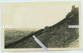 民国时期河北秦皇岛山海关辽西山脉的残长城遗迹老照片。A
