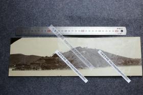 清代长江沿岸江苏江阴黄山东山嘴张之洞炮台宽幅全景老照片,38.2X11.3厘米