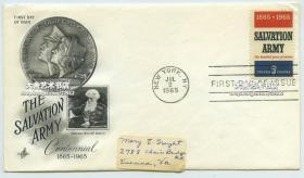 1965年救世军(TheSalvationArmy)组织成立100周年纪念邮票首日封,创始人为英国人威廉·布斯。布斯原为基督教循道公会牧师。