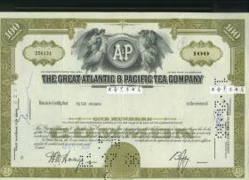 1960-1970年代大西洋与太平洋茶叶公司股票股一张,雕刻版 (黄色)
